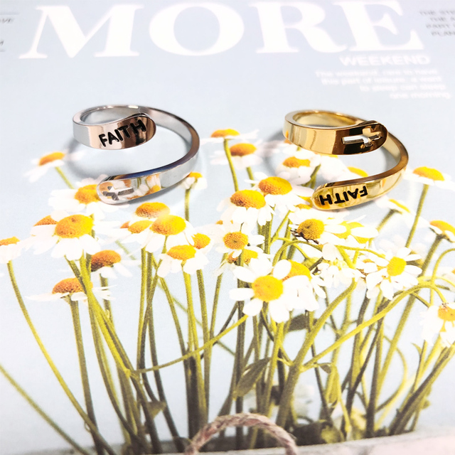 2020 jewelry faith adjustable Rings&Stainless Steel Rings For Women vintage cross letter round on fingers Gifts for the new year 4