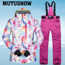 Women Ski Suit Brands Winter Windproof Waterproof Breathable Warm Set Ski Jacket And Snow Pants Skiing And Snowboarding Suits cheap MUTUSNOW COTTON Polyester Microfiber Hooded FenShuiCai Fits true to size take your normal size Jackets Anti-Pilling