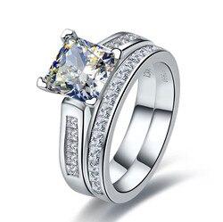 TRS102 Роскошное Качество 2 карат Принцесса Cut лучшее качество NSCD синтетический драгоценный камень Обручальное кольцо Набор для женщин, Свадеб...