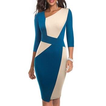 2020 Asymmetrical Collar Dress Elegant Casual Work Office Sheath Slim Dress 5