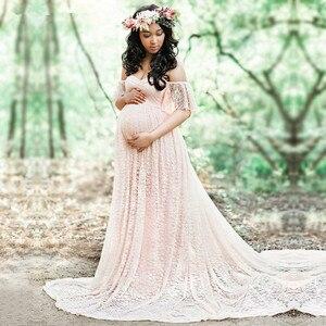 Image 1 - Robe longue de maternité, accessoires de photographie, pour femmes enceintes, robe Maxi pour séance Photo