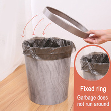 Hot Sale 12L Trash Can Durable Garbage Waste Basket with Wood-Grain European Style Wastebin for Bathroom