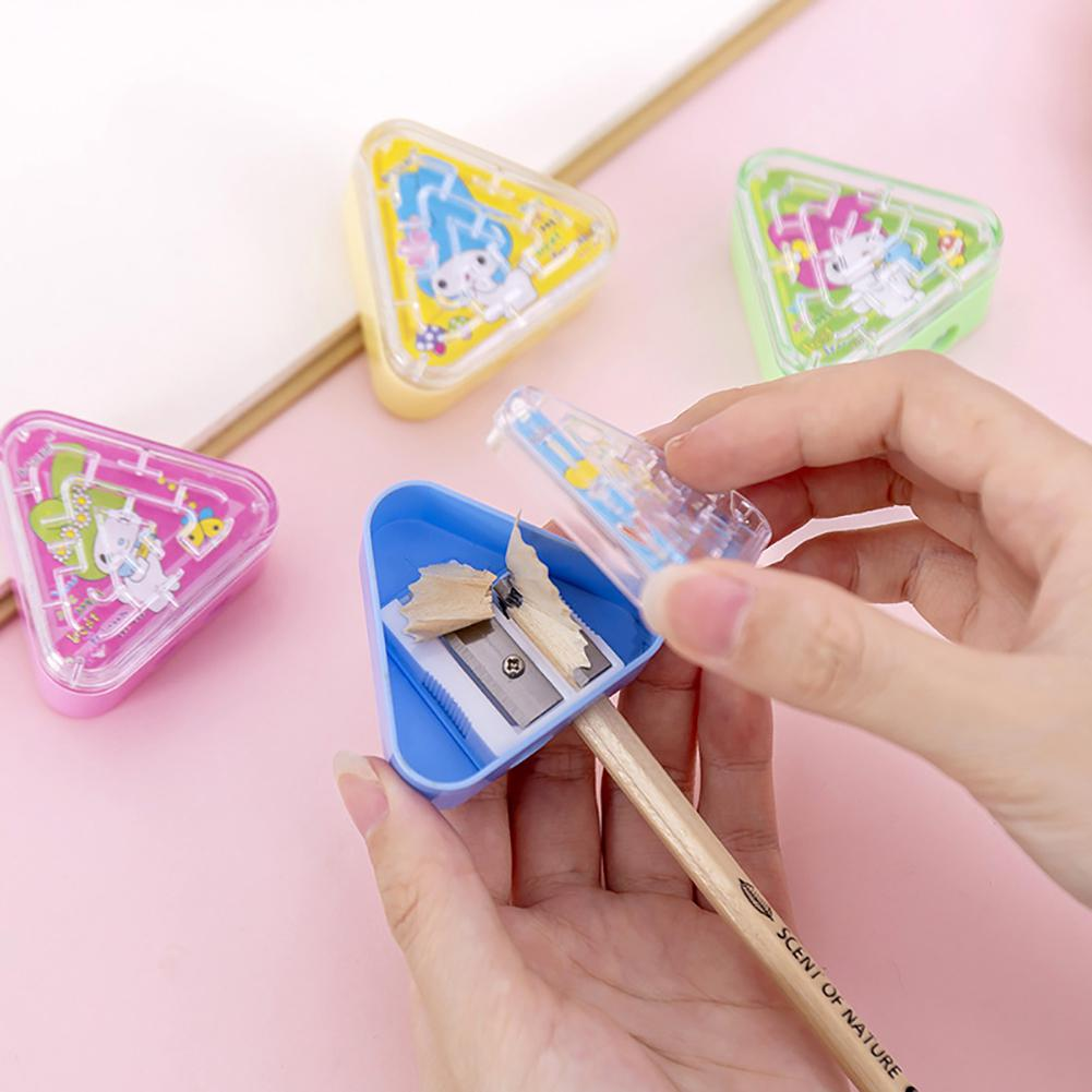 Cute Kawaii Maze Plastic Automatic Triangle Dual Holes Pencil Sharpener Cutter Gift Stationery Kids Toys School Office Supplies