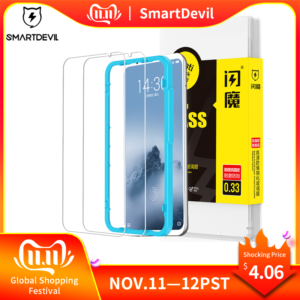 SmartDevil Screen Protector For Meizu 16th Tempered Glass Protector Film 2 Pieces Mobile Phone Toughened Film Anti-fingerprint