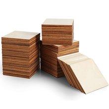 Необработанные деревянные доски 100 шт пустые ломтики квадраты