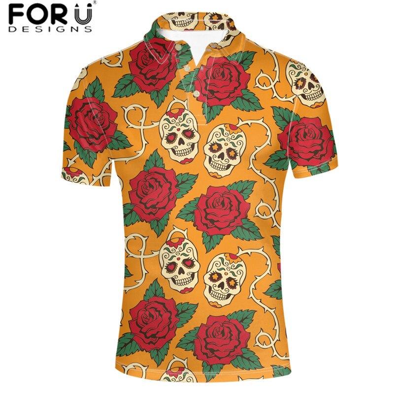 Forudesigns Atacado Camisa Masculina Crânio Arte Impressão Padrão Rosa Estilo Gótico Curto Topos t Roupas Masculinas Corpo Tamanho Apto S-xxxl