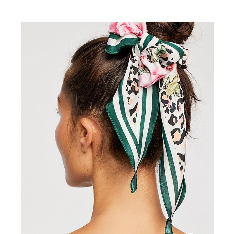 Vintage Flower Silk Satin Scrunchies Big Long Ponytail  Hair Holder Elastic Hair Band For Women Hair Accessories