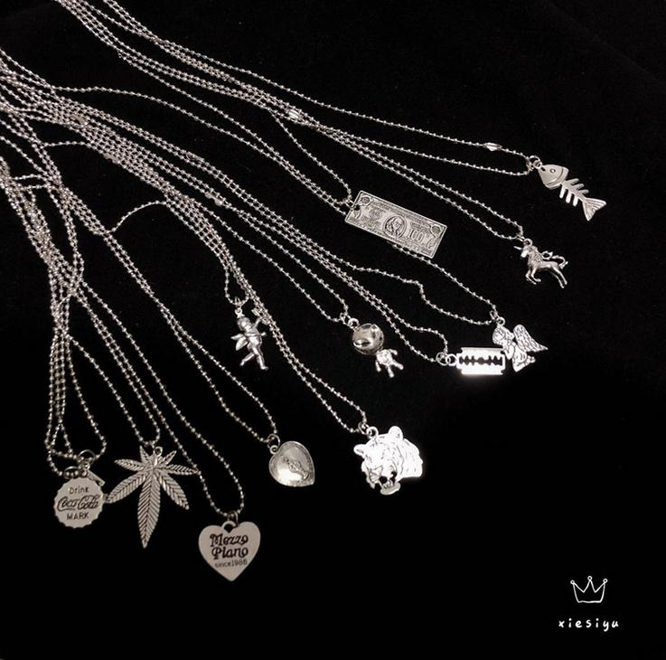 Hip Hop Music Festival Angel Mermaid Rabbit Head Hemp Leaf Necklace Round Beads Di Punk Pendant Necklace Clavicle Chain for Men(China)