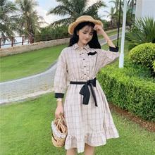 Gothic Lolita Op chica Kawaii princesa Loli Vintage dulce Loli vestido cuello Polo manga latern de celosía cintura vestido victoriano