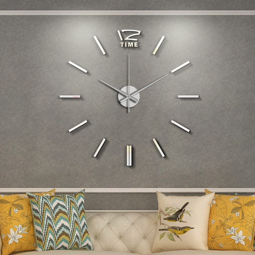 50cm 3D Wall Clock Modern Design DIY Acrylic Mirror Stickers Clock For Living Room Bedroom Home Decor Large Silent Elreloj Mural