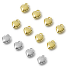100pcs/lot 10x8mm Gold CCB Heart Charm Pendant Beads With Hanging for Bracelet Necklace DIY Jewelry Making Wholesale