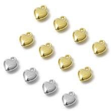 100 adet/grup 10x8mm altın CCB kalp Charm kolye boncuk asılı bilezik kolye DIY takı yapımı toptan