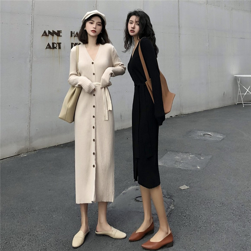 Light Color Dress Women's Autumn And Winter Elegant Knitted Sweater Dress Long Sleeve 2019 Korean-style Mid-length French Non-ma