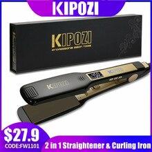 KIPOZI profesyonel saç düzleştirici titanyum düzleştirici dijital LCD ekran çift voltaj anında isıtma bukle makinesi