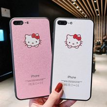 Para iphone X XR XS funda protectora máxima con pantalla para iphone 6S 6 7 8 Plus 1:1 Original Hello Kitty nueva funda de teléfono con patrón de seda(China)