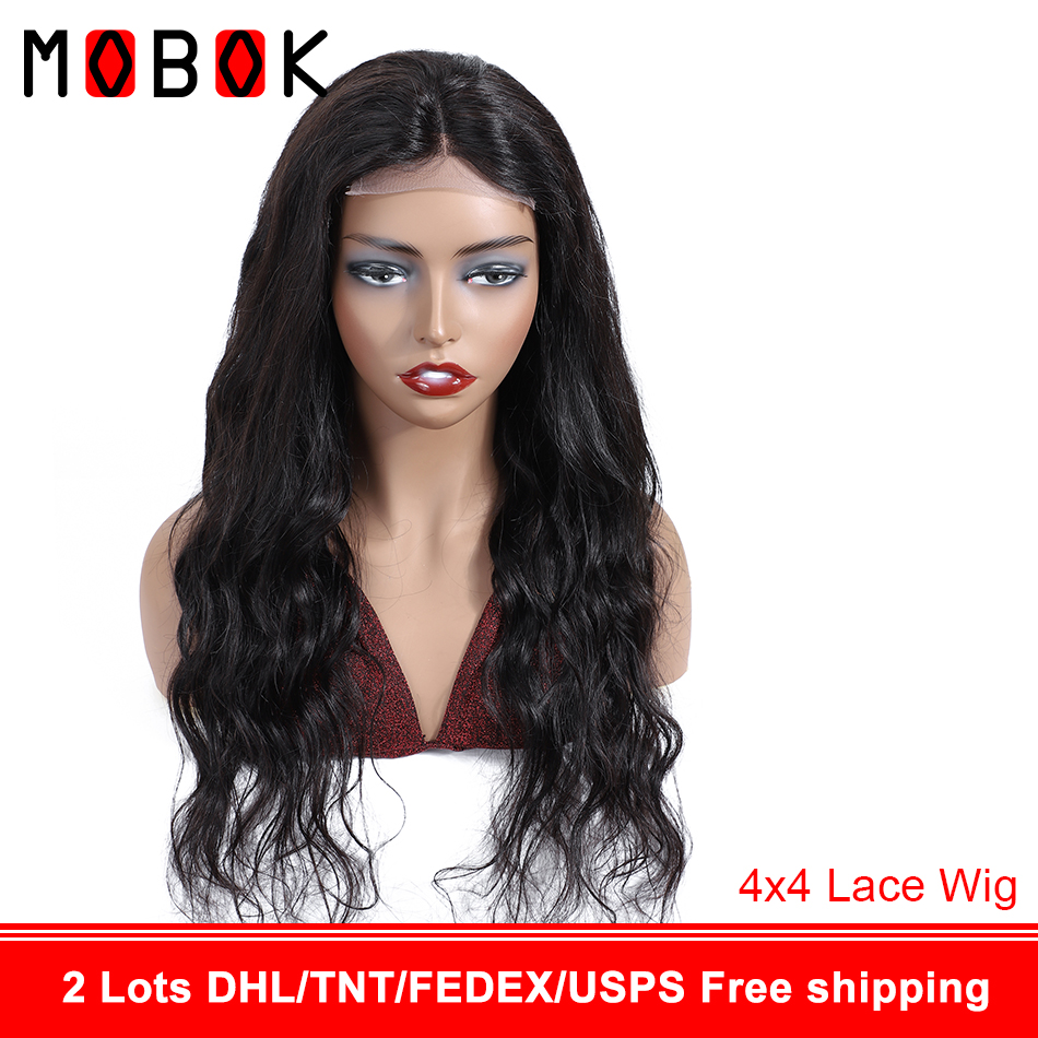 Mobok 4×4 Lace closure Human Hair Wigs Pre Plucked 150% Density Brazilian Body Wave Wigs Natural Hairline For Women Remy Hair