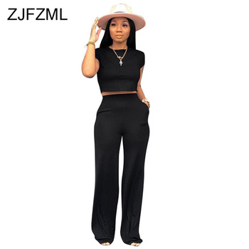 Sexy Two Piece Tracksuit Summer Clothes For Women O Neck Short Sleeve Crop Top And Wide  Leg Pants Casual 2 Piece Matching Sets wuhe women fashion o neck short sleeve long swing top and slim pants summer casual two pieces sets playsuits combinaison femme