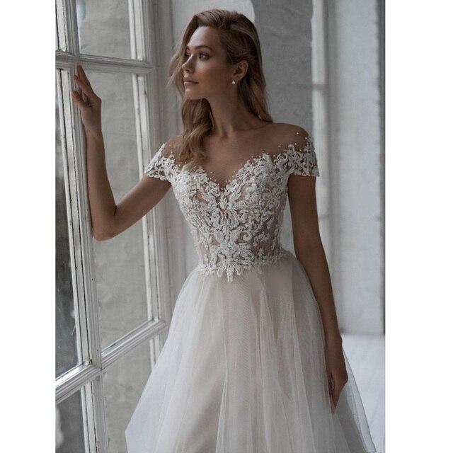 Vestido De novia De manga corta, cuello redondo, con perlas, apliques De tul, corte en A, vestidos De boda bohemios
