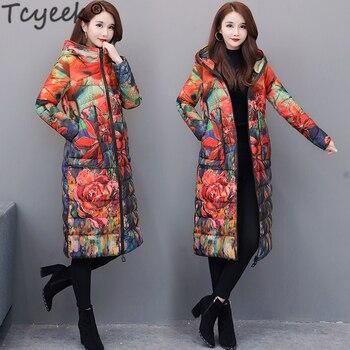 Tcyeek модный 6XL женский пуховик Зимнее пальто женская одежда 2020 Длинный Цветочный пуховик с капюшоном дамское пальто Hiver 1858
