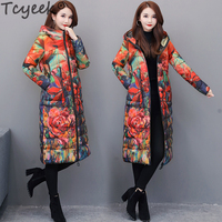Tcyeek Fashion 6XL Women's Down Jacket Winter Coat Female Clothes 2020 Long Floral Down Parka Hooded Ladies Overcoat Hiver 1858