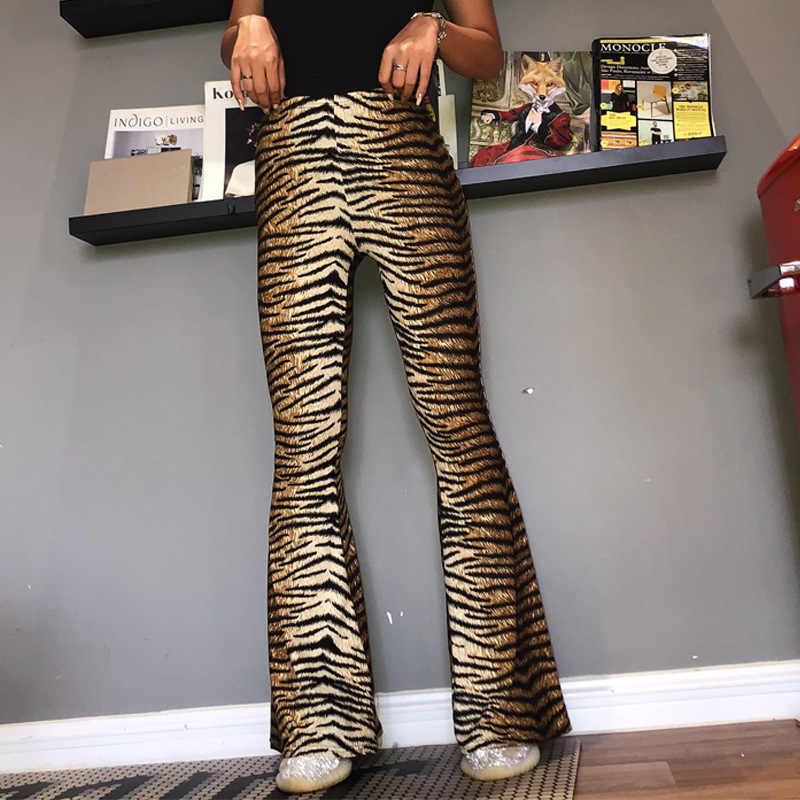 สูงเอวเสือดาวกว้างขากางเกงผู้หญิง 2019 plus ขนาดฤดูใบไม้ร่วงฤดูหนาว casual streetwear ยาว flare กางเกง bodycon Club กางเกง