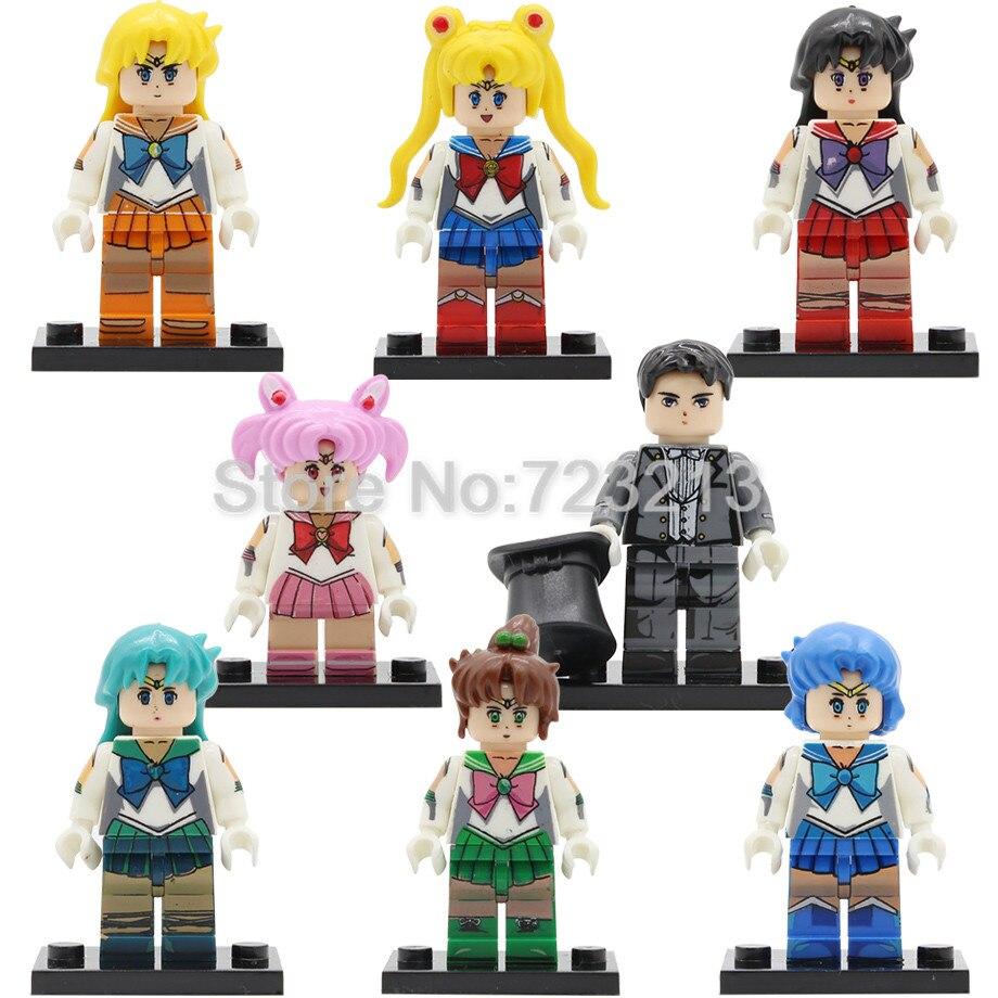 Single Sale Sailor Moon Cartoon Figure Chibiusa Hino Rei Chiba Mamoru Building Blocks Sets Kaiou Michiru Girl Models Bricks Toys