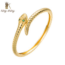 King Shiny Elegant Gold Plated Snake Copper Cuff Bangle Luxurious Cubic Zirconia Pave Charm Animals Bracelet Girls Party Jewelry