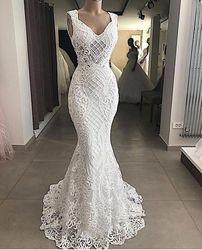 Роскошные бисерные жемчужные кружевные белые свадебные платья русалки 2020, сексуальные свадебные платья без рукавов с v-образным вырезом, св...
