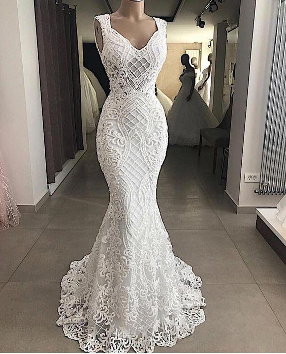 Luxury Beaded Pearls Lace White Mermaid Wedding Dresses 2020 Sexy V Neck Sleeveless Bridal Wedding Gowns Bride Dress