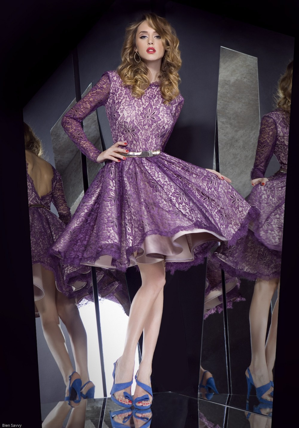 Hot Sell Custom Made Sexy Purple Lace With Long Sleeves V Back Short Knee Length Cocktail Dresses Homecoming Dresses Satin VC-28