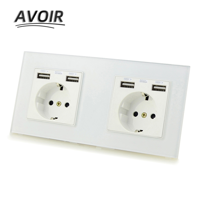European Standard Plastic Two Way Charger USB Wall Socket White Brand New