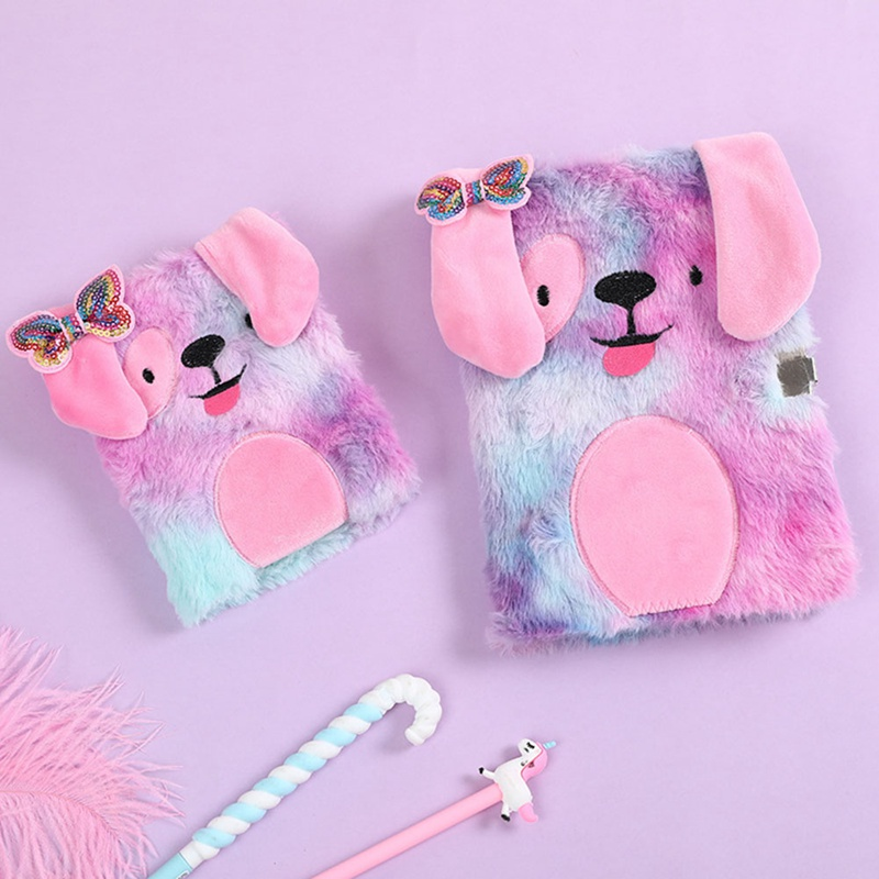 1 Pcs Cute Embroidery Fold Notepad Colorful Animal Plush Notebooks With Lock Girl Portable Travel Diary Planner Stationery
