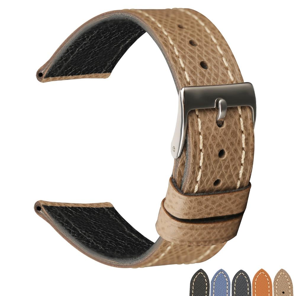 PSTARY ультратонкий кожаный ремешок ручной работы в стиле ретро с пальмовым принтом, 18 19 20 мм для антикварных часов, кожаный ремешок