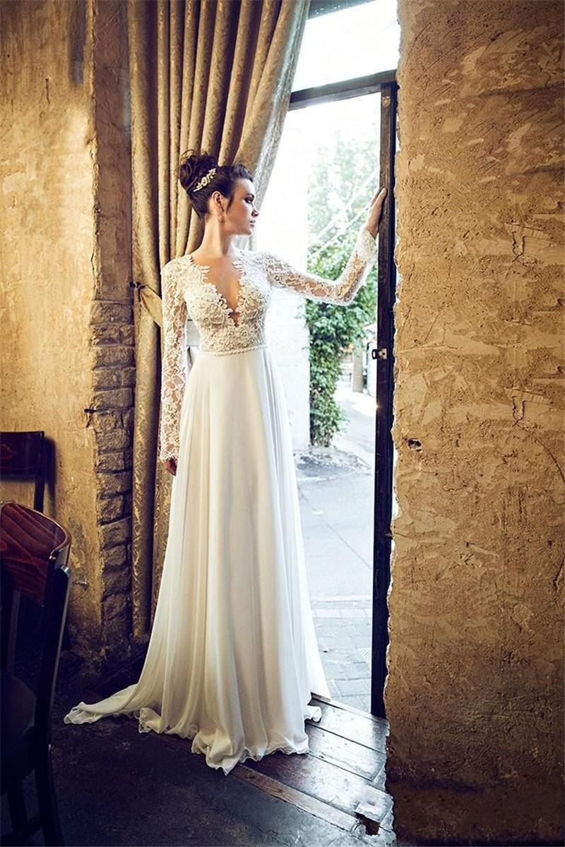 2018 Sexy Backless Beach V-Neck Lace Long Sleeve Chiffon Sweep Train Bridal Gown Vestido De Noiva Mother Of The Bride Dresses