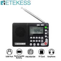 Retekess TR102 Portable Radio FM/AM/SW World Band Receiver MP3 Player REC Recorder With Sleep Timer Black FM Radio Recorder