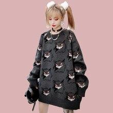 Anime sweter kobiet Harajuku wzór sweter luźny koreański styl 2020 jesień zima ciepły sweter z dzianiny kobieta swetry