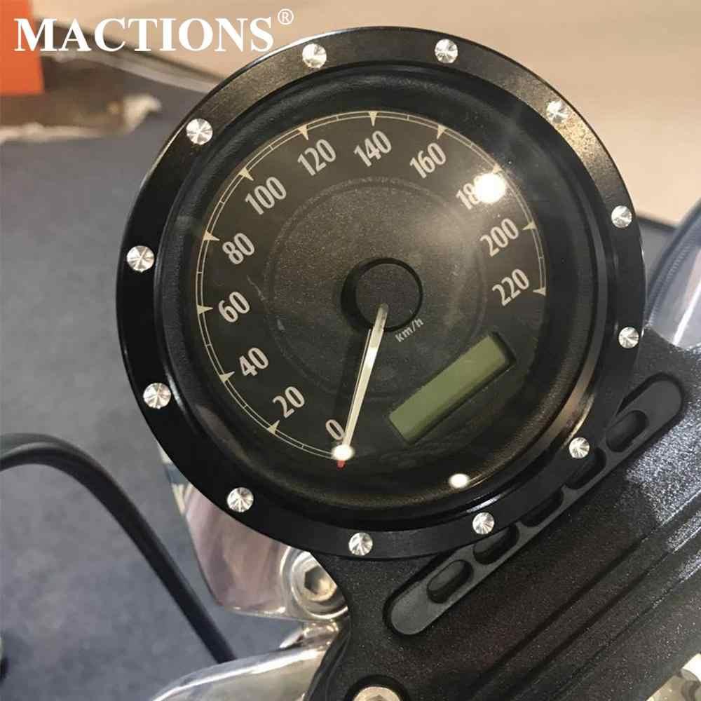 Motorrad Billet Speedometer Trim Lünette Abdeckung Schwarz Chrom Für Harley Dyna Street Bob Sportster XL883 XL1200 Low Rider Modelle