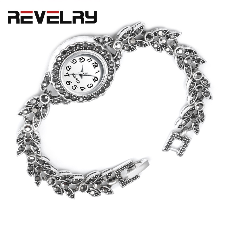 REVELRY Exquisite Crystal Floral Bracelets For Women Antique Silver Decorative Watch For Women Retro Quartz Watches 2019 New