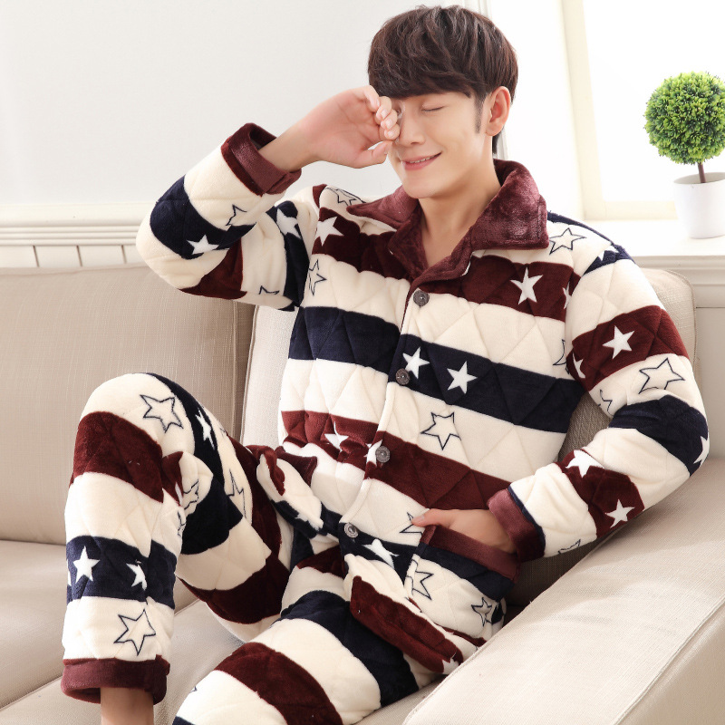 Winter Thick Flannel Three Layer Cotton-padded Clothes MEN'S Pajama Cardigan Fan Ling Pajamas Long Cuff