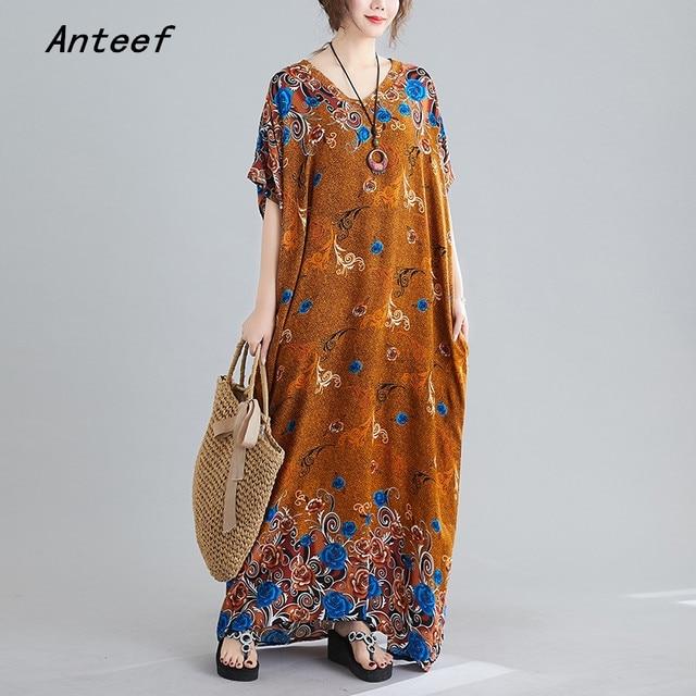 Γυναικείο φόρεμα καλοκαιρινό με λουλουδάκια μακρύ ριχτό βαμβακερό σε μεγάλα μεγέθη