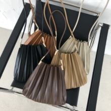 Luxury Women Handbag Soft PU Leather Fold Ladies Shoulder Bucket Bags Solid Color Female Crossbody Bags Casual Tote Bolso Mujer