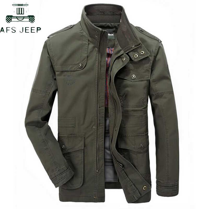Sonbahar Kış % 100% Pamuk Askeri Ordu Erkek Ceketler Palto Standı Yaka Çok cep Uzun Uçuş Ceketler L-8XL Jaqueta masculina