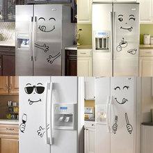 Yeni 4 stilleri gülümseme yüz duvar Sticker mutlu lezzetli yüz buzdolabı çıkartmalar nefis gıda mobilya dekorasyonu sanat posterleri DIY PVC