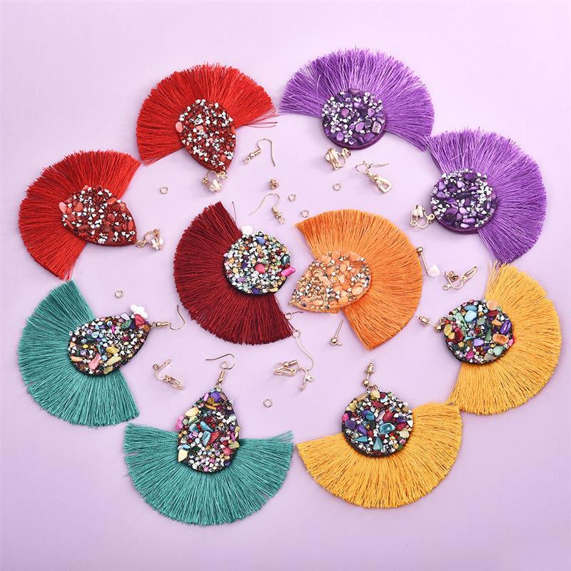 12pcs/set DIY Dangle Earrings Bohemian Tassels Earrings Handmade Earring For Jewelry Making Accessories