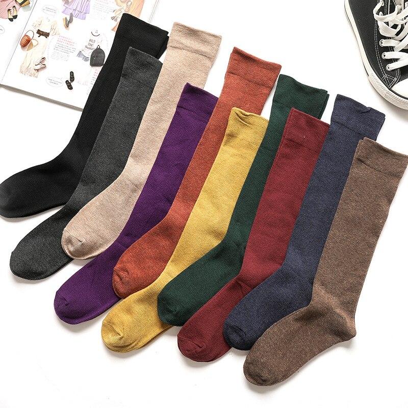 Retro Socks For Women Cotton Solid Anti-friction Long Knee Socks Japanese Standard Cosy Happy Socks Female Casual