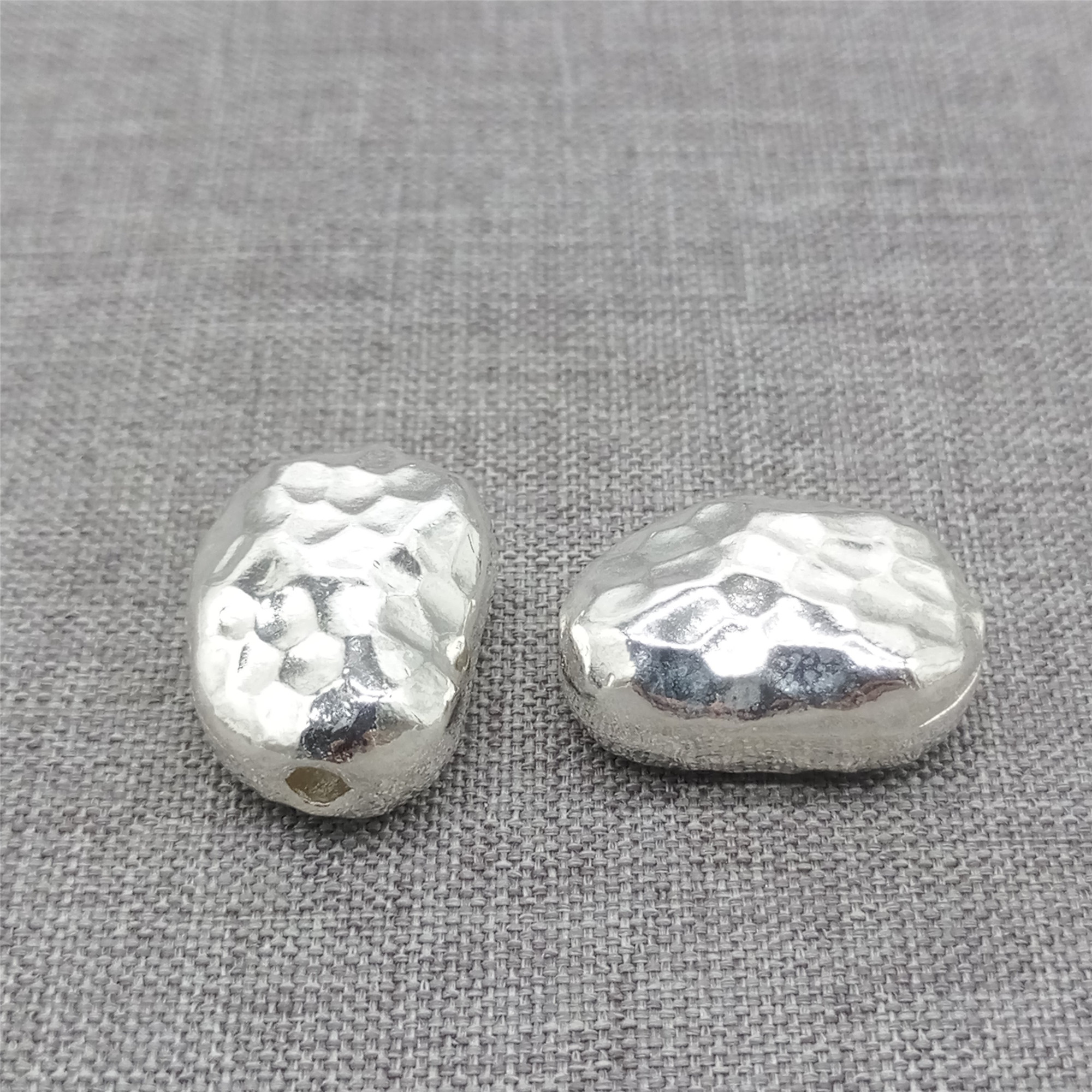 20 Pcs Sterling Silver Nugget Spacers Seamless WSP356X20 Wholesale See Discount Coupons in Item Details