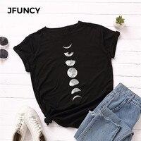 JFUNCY, футболка размера плюс, S-5XL, новая луна, футболка с принтом, женская, 100% хлопок, Круглый ворот, короткий рукав, футболка, топы, летние повсе...