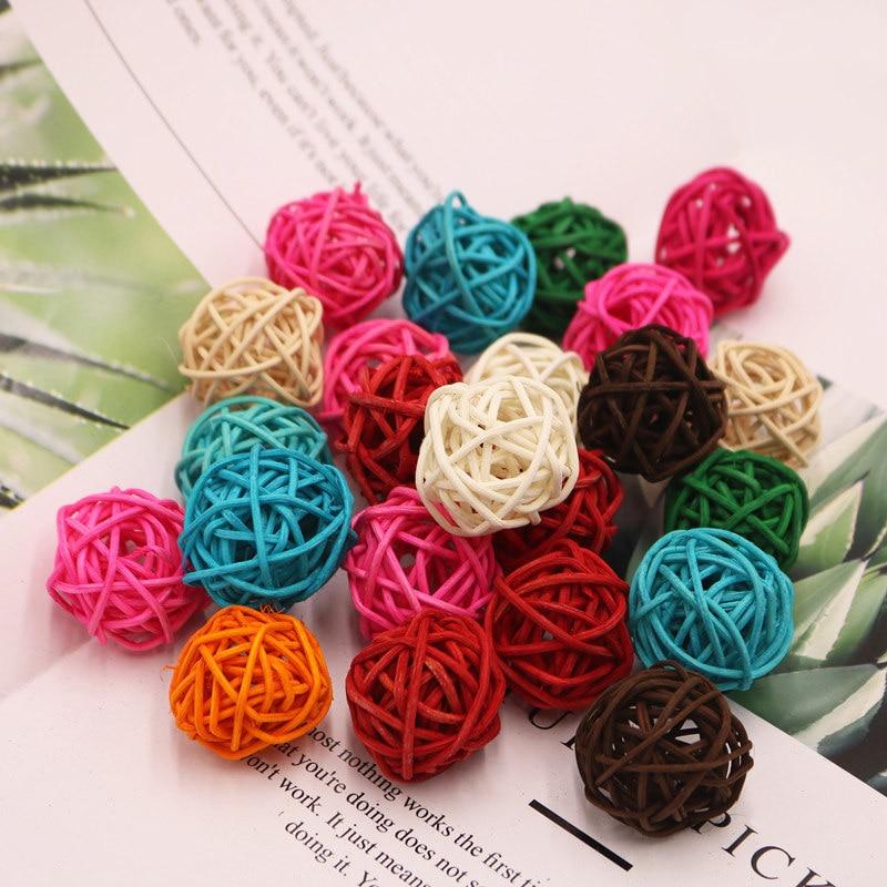 10pcs/lot 3cm Multicolor Rattan Ball Craft Wedding Birthday Party Home Decorations DIY Ornaments Festival Decor Kids Toys 62479