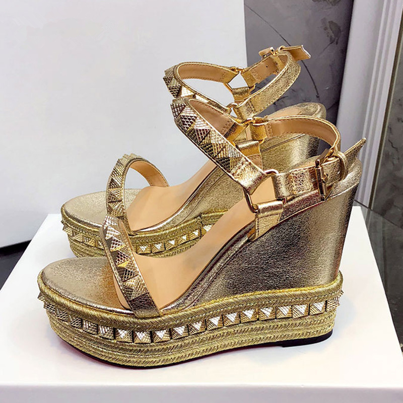 MEW Platform Sandals Women Open Toe Rivet Mixed Color Wedges Shoes For Women Runway High Heels Gladiator Party Dress Shoes Woman - 2