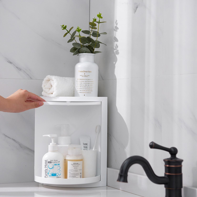Новинка 2019, стильная вращающаяся треугольная полка для хранения в ванной, xi bi, пластиковая стойка для хранения, кухонная сантехника